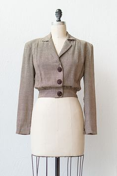 vintage 1940s brown herringbone jacket