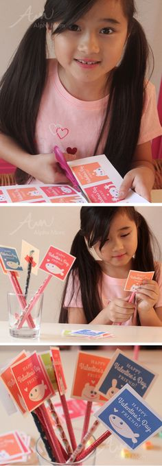 Friendly Valentine Card Printables for Kids in different colors. By Brenda Ponnay.