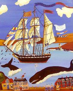 primitive seascape painting folk art whale