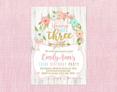 Young Wild and Three Invitation Gold Glitter Three Wild and