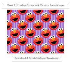 Free Landscape Amethyst Striped Large Elmo Head Pattern Paper - Sesame Street