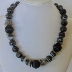 Black and white statement necklace  Agate and silk beads with sterling silver