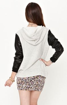 Lue  French Terry Faux Leather Hoodie  $44.50