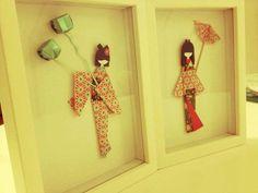 cuadros con muñecas japonesas de papel origami decoración
