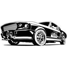 Lokoloko. Vinilos coches | Mustang Eleanor Car Illustration, Illustrations, Mustang Drawing, Cool Car Drawings, Car Silhouette, Car Tattoos, Automotive Art, Automotive Engineering, Engineering Jobs