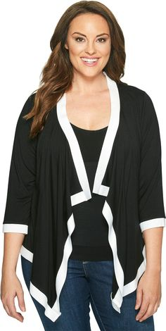 Karen Kane Plus Women's Plus Size Banded Drape Jacket Black/Off-White Jacket