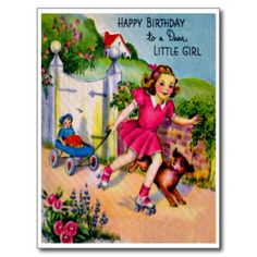 Petite fille et chiot doux - rétro joyeux cartes postales