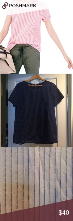 🆕J. Crew shadow stripe top. Navy blue. Size 10 Gorgeous top, just not for me. J. Crew Tops Blouses