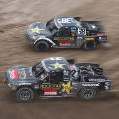 Side by Side Champs! Brian Deegan and Rob MacCachren Off Road Truck Racing, Dirt Racing, Trophy Truck, Mans World, Cool Trucks, Bad Boys, Champs, Rally, Offroad