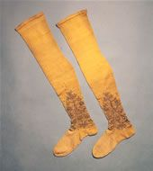Thought to be the earliest intact pair of stockings, they were made around 1600-25.