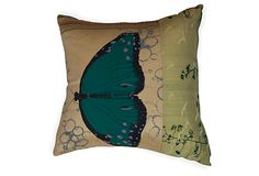 Hand-Screened Silk Pillow with Turquoise Butterfly for Talcy