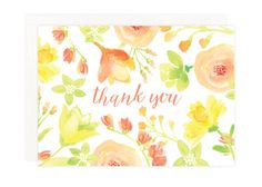 Watercolor Thank You Card Set - Watercolor Floral Boxed Cards - Spring Flowers Theme