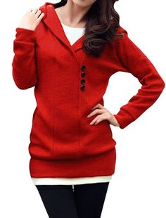Allegra K Women Dolman Sleeve Pullover Button Decor Hooded Knit Shirt Red L