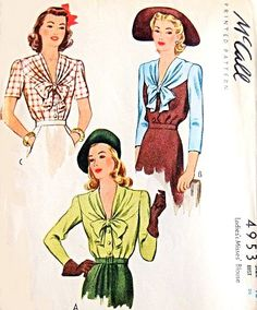 1940s Beautiful Blouse Pattern McCall 4953 V Draped Neckline Bow Tied Film Noir Style WW II War Time Bust 34 Vintage Sewing Pattern