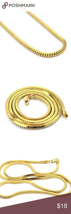 18k Gold Snake Box Chain Necklace Hip Hop Men's 18k Gold Snake Box Chain Necklace  This chain is made of 316 stainless steel with a high quality 18k gold pvp plating on top for extra protection against fading and discoloration. Size is 3mm width sizes 26,28 or 30 inches in length are available. TSV Jewelers Accessories Jewelry