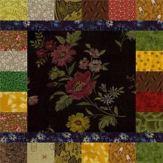Frame a Focal Fabric with Lots of Coordinating Scraps: Scrappy Quilt Block Pattern with a Focal Center