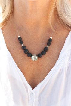 Black Lava and silver Metal thread ball necklace by MartaDissenys