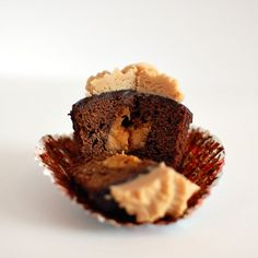 PB and chocolate cupcake make from a brownie recipe.