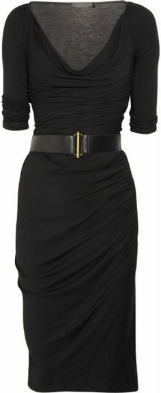 Donna Karan New York Black Cowlneck Stretch Jersey Dress