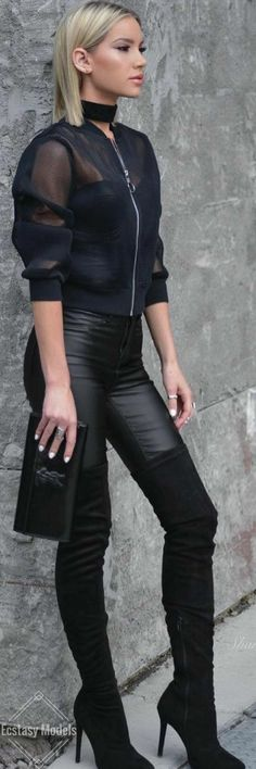 women's spring fashion tulle zipper up jacket+leather slim pants+thigh high over the knee boots
