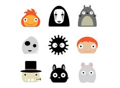 Icons on Behance All Studio Ghibli Movies, Studio Ghibli Quotes, Studio Ghibli Tattoo, Studio Ghibli Art, Studio Ghibli Characters, Anime Recommendations, Time Tattoos, Icon Collection, Kawaii