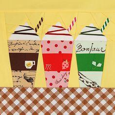 Paper pieced beverage #quilt block