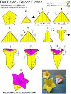 """Fonte / Source: Livro (book): """"Origami Flowers - Popular Blossoms and Crative Bouquets - Hirom. Origami Balloon, Instruções Origami, Origami Star Box, Origami And Kirigami, Origami Dragon, Paper Crafts Origami, Origami Design, Origami Stars, Origami Folding"""