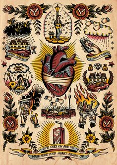 Discover the meaning behind Sailor Jerry's famous old school tattoos, from dragon tattoos to classic skull tattoo designs. Visit our Website for Flash Art Tattoos, Tattoo Flash Sheet, Body Art Tattoos, Small Tattoos, Sleeve Tattoos, Retro Tattoos, Vintage Tattoos, Tattoo Old School, Old School Tattoo Designs