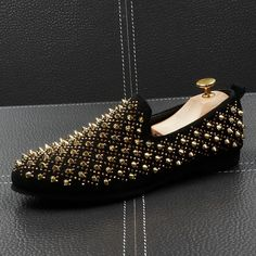 Black Gold Metal Spikes Punk Rock Mens Loafers Flats Shoes is part of Shoes - Black Gold Metal Spikes Punk Rock Mens Loafers Flats Shoes, MaterialLeather Outer, Leather Inner, Metal SpikesHeels Measurement 1 cm Mens Fashion Shoes, Fashion Boots, Men's Fashion, Loafer Shoes, Loafers Men, Men's Shoes, King Shoes, Rock Style Men, Metal Spikes
