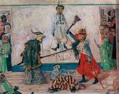 James Ensor/Skeletons Fighting Over a Hanged Man. 1891.
