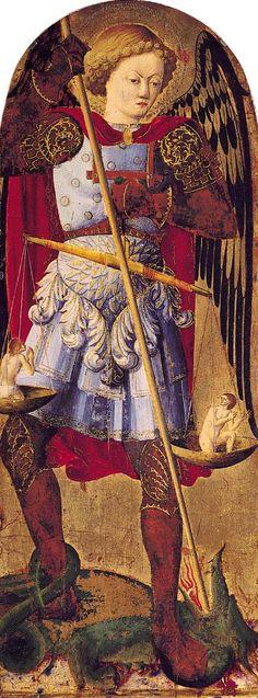 Maestro del Trittico del 1454 - San Michele Arcangelo, pannello laterale - 1454-1460 - Camerino, Museo Diocesano