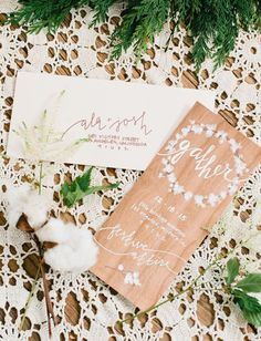 wooden invite with touches of cotton and natural elements inspired by modern scandinavian design