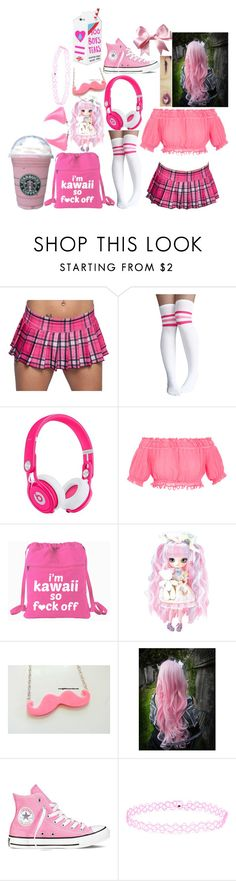 """""""Little Lana #2"""" by marythedemon ❤ liked on Polyvore featuring Beats by Dr. Dre, Apiece Apart, Cotton Candy, Converse, Kreepsville 666, Accessorize and Valfré"""