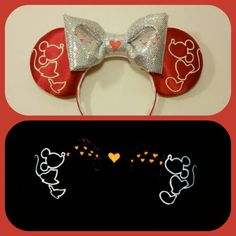 Glow in the dark Kissing Mickey and Minnie Ears by Earsboutique