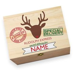 Personalised Rudolph Express Children's Printed Christmas Eve Box Wooden Christmas Eve Box, Christmas Christmas, Christmas Presents, Holiday, Night Before Christmas Box, Hamper Boxes, Christmas Ideas, Christmas Decorations, Newly Wed