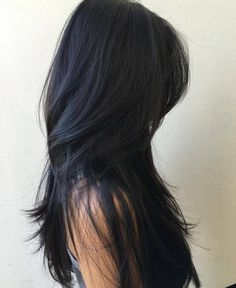 Long Thin Silky Black Hair with Long Layers