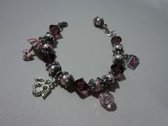 Perlas de  cristal, cristal facetado y dijes, 20 cm de largo con aretes y ganchos de plata