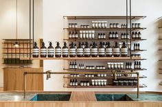 Genesin Studio designed a pale wood and antique marble interior behind a dusky-green Victorian shopfront for Aesop's new Adelaide store. Aesop Store, Marble Interior, Retail Solutions, Cosmetic Shop, Layout, Green Marble, Retail Space, Minimalist Interior, Arquitetura
