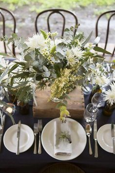 Navy Wedding with Native Florals, rustic table setting, Australian wedding - Winter Wedding Table Flowers, Wedding Table Decorations, Christmas Table Decorations, Table Centerpieces, Greenery Centerpiece, Floral Decorations, Centrepieces, Aussie Christmas, Australian Christmas
