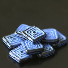 52 CENTS EACH ~ $5. 25 FOR 10 (13mm) ~~ Czech Glass Beads - Greek Key Design Glass Tile With Spiral Pattern ~~ funkyprettybeads
