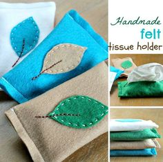 How-To: Felt Tissue Holder; I would sew on  leaf design before sewing ends
