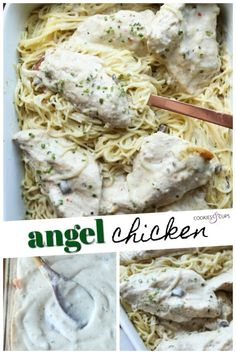 Angel Chicken Pasta is an easy chicken recipe perfect for weeknight dinners. Chicken breasts bake right in a quick creamy sauce that's packed with flavor and served with Angel Hair Pasta! Even the pickiest eaters will love this dish! #cookiesandcups #chickenrecipe #pastarecipe #angelchicken
