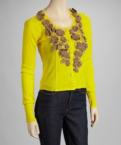 Take a look at this Lime & Brown Floral Cardigan by Ryu on #zulily today! $40 !!