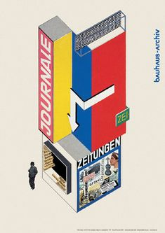 Herbert Bayer: Kiosk designed for the sale and advertisement of newspapers. Small base supporting tal angular superestructure with many different colored areas for posters, 1924