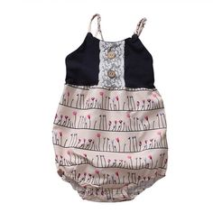 2017 Summer Cute Newborn Baby Girl Boho Romper Sleeveless Button Printed Baby Jumpsuit Outfits Sunsuit Clothes