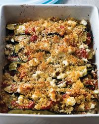 layered eggplant, zucchini, and tomato casserole.