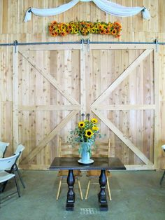 Sweetheart table in front of the barn doors (ready to decorate). Wedding Props, Wedding Decorations, Rustic Wedding, Our Wedding, Sweetheart Table, Kinds Of Music, Got Married, Decorative Items, Special Events