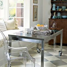 Put casters on a table for a dual-purpose dining and food-prep surface in a small kitchen.    Estimated cost: Four Waxman swivel casters with brakes, about $15; Lowe's