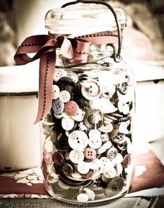 vintage mason jar with button collection