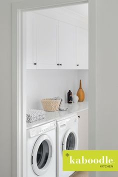 Look no further, our inspiration gallery showcases the latest DIY kitchen renovation trends and designs to inspire you! Yellow Laundry Rooms, Laundry Room Colors, Modern Laundry Rooms, Laundry In Bathroom, Bunnings Laundry, Kaboodle Kitchen Bunnings, Laundry Room Pictures, Fridge Storage, Laundry Room Design